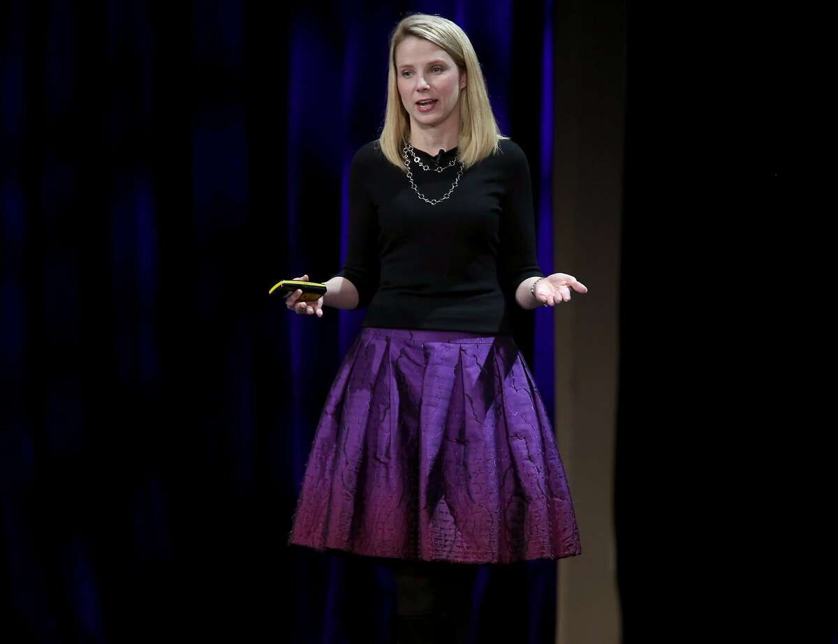 CEO Marissa Mayer delivers the keynote speech during the Yahoo Mobile Developer Conference at the Nob Hill Masonic Center in San Francisco, Calif. on Thursday, Feb. 19, 2015.