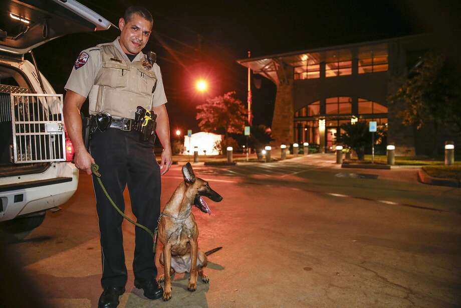 Katy police officer Reggie Rodriguez works the streets with his partner  Luna, a Belgian Malinois, looking for illegal narcotics. Photo: Diana L. Porter, Freelance / © Diana L. Porter