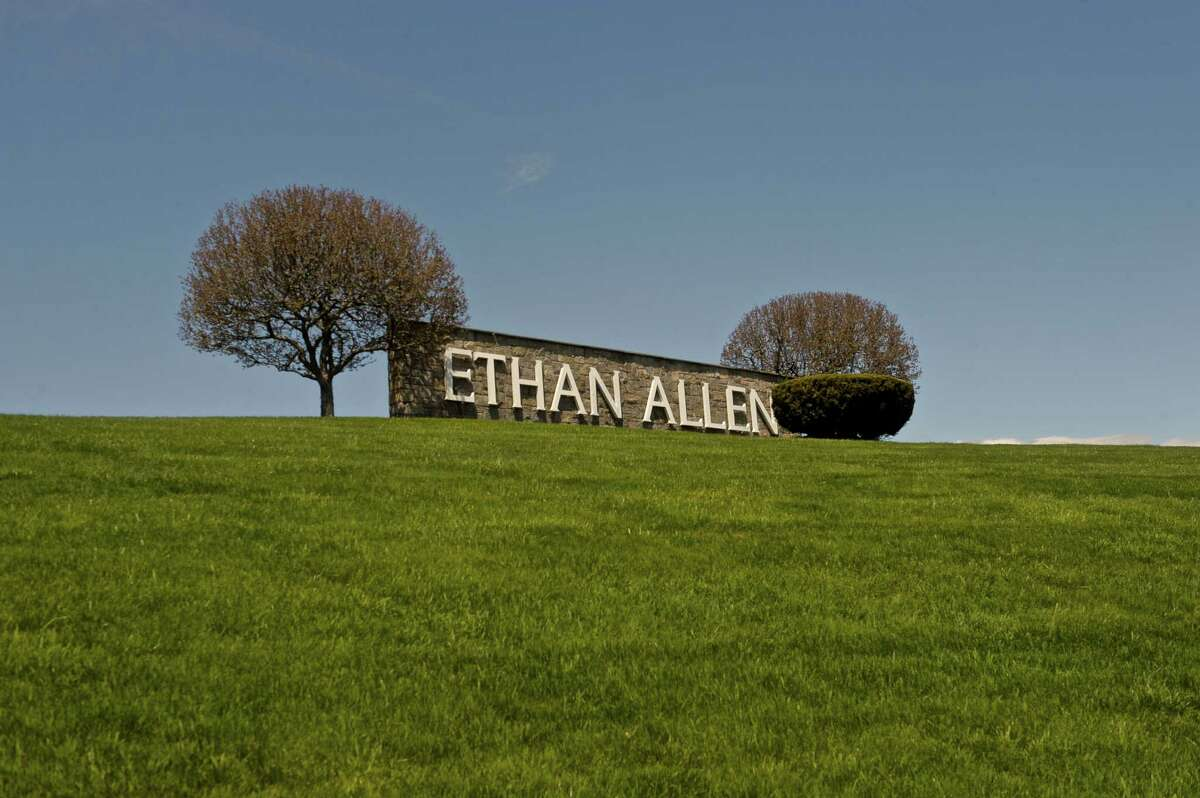 The sign infront of the Ethan Allen head quarters on Lake Avenue Ext, in Danbury, Conn.
