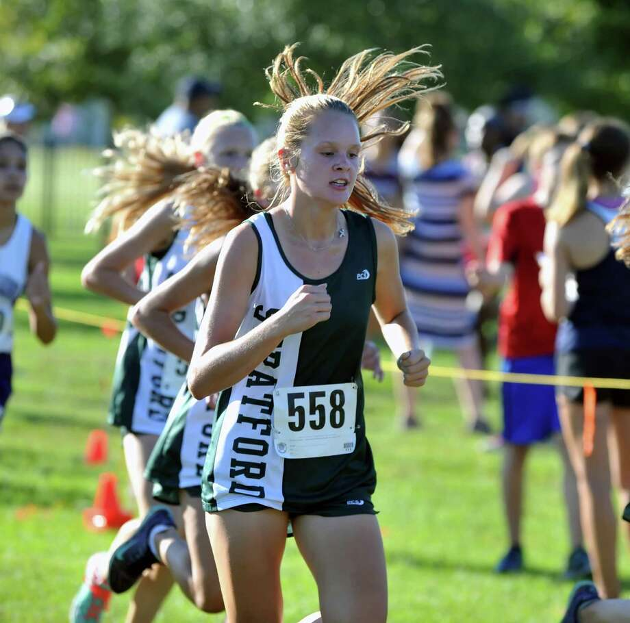 Spring Branch Cross Country Meet, 9-19-2015, held at Nottingham Park.  Stratford's Georgia Harper (558) crosses the one mile marker. Photo: Eddy Matchette, Freelance / Freelance
