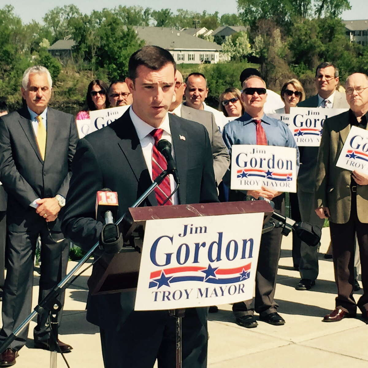Wife of Troy mayoral candidate Jim Gordon said he 'held me down.'Read the full story here. Troy City Councilman Jim Gordon announces on May 7, 2015, that he is a Republican candidate for Troy mayor. (Kenneth C. Crowe II/Times Union)