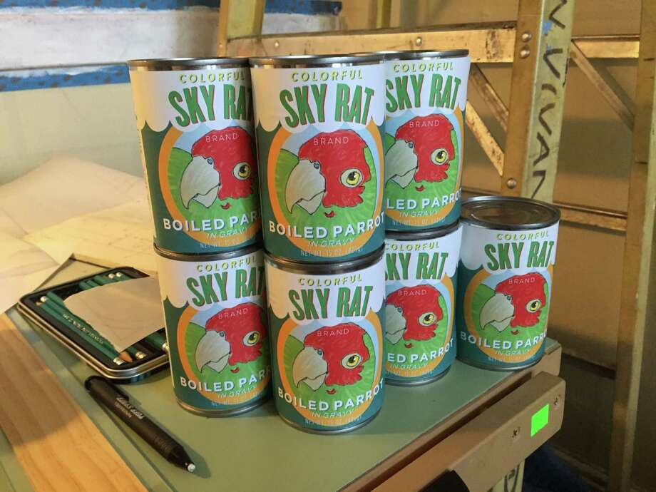 Canned parrot meat? An art installment in the window of a forthcoming North Beach store called Terrific Street is meant to spark the interest of passers-by. Photo: Brady Baltezore / Terrific Street