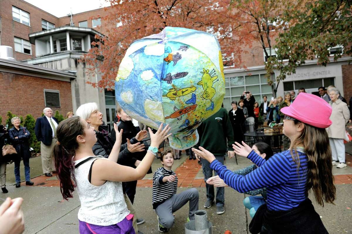 Seventh-grade students try to launch a hot air balloon they created for the opening celebration of the Susan Odell Taylor School on Tuesday, Oct. 20, 2015, at Russell Sage College campus in Troy, N.Y. (Cindy Schultz / Times Union)