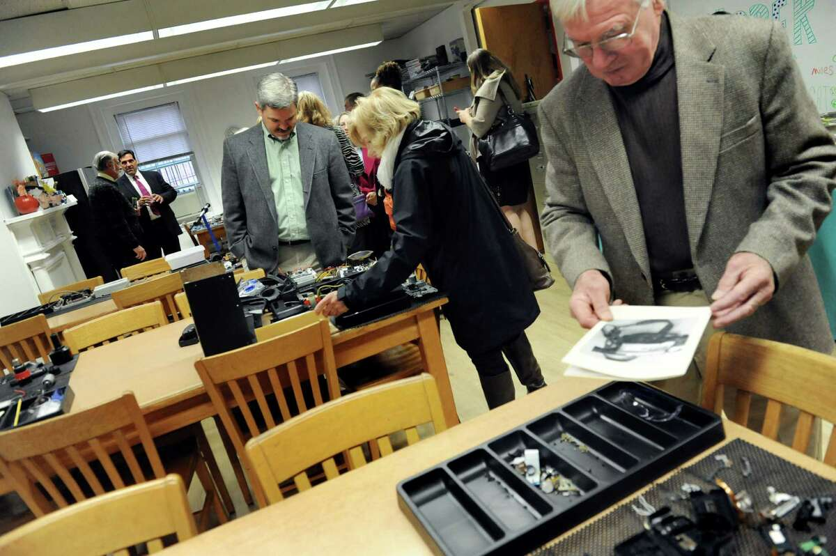 Invited guests, including parents and board members, tour the Think Tank room during the opening celebration of the Susan Odell Taylor School on Tuesday, Oct. 20, 2015, at Russell Sage College campus in Troy, N.Y. (Cindy Schultz / Times Union)