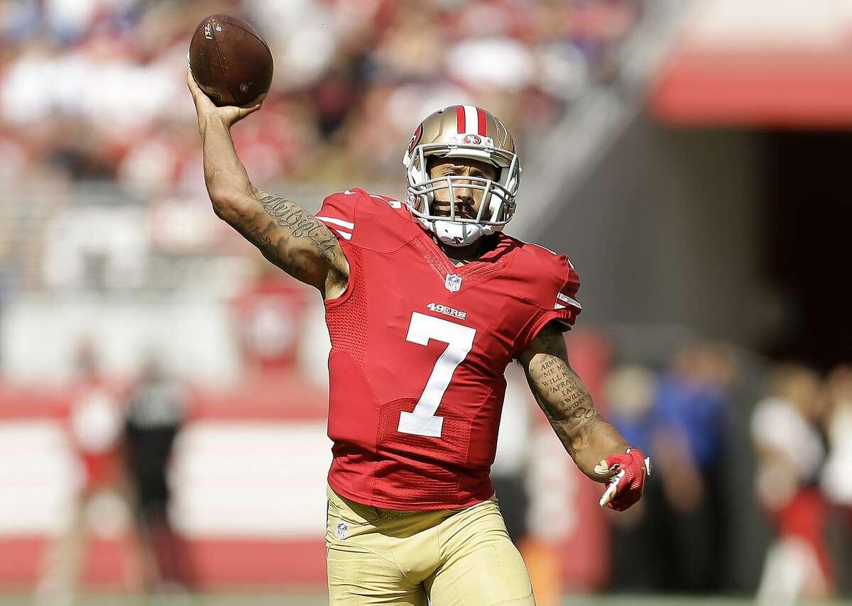 San Francisco 49ers quarterback Colin Kaepernick (7) passes against the Baltimore Ravens during the first half of an NFL football game in Santa Clara, Calif., Sunday, Oct. 18, 2015. (AP Photo/Ben Margot)