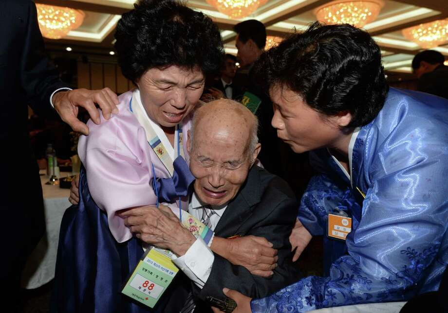 North Korean Chae Hun-Sik, 88, met with his South Korean relatives Tuesday during a separated family reunion meeting on the North's southeastern coast. Photo: KPPA / AFP