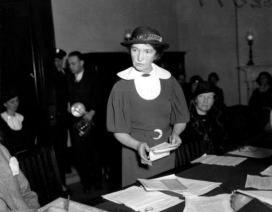"In this March 1, 1934 file photo, renowned birth control pioneer Margaret Sanger appeals before a Senate committee for federal birth-control legislation in Washington, D.C. Sanger's legal appeals eventually prompted federal courts to grant physicians the right to give advice about birth-control methods. She began her crusade back in 1912 when she was working on the lower east side of New York and saw women resorting to back alley, illegal abortions. One too many of these women died in her arms and she said ""Enough."" Sanger, together with philanthropist Katharine McCormick, bankrolled the work of Gregory Pincus, the man Sanger convinced to develop the pill.  (AP Photo/File) / AP"