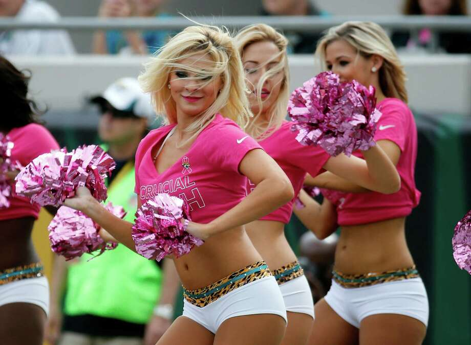 Members of the Jacksonville Jaguars Roar Cheerleaders perform during the second half of an NFL football game, Sunday, Oct. 18, 2015, in Jacksonville, Fla. The Texans beat the Jaguars 31-20. (AP Photo/Stephen B. Morton) Photo: Stephen B. Morton, FRE / FR56856 AP