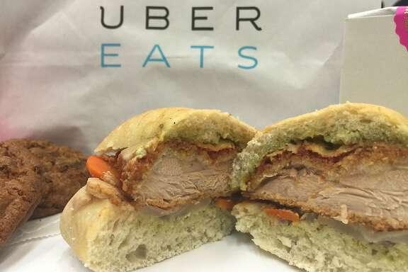 Stone's Throw's Spicy Chicken Parm Sandwich, via Uber Eats
