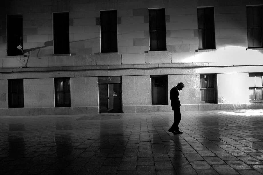 A man walking slowly through Mint Plaza in San Francisco's Mid-Market corridor in 2013. Photo: Courtesy Darcy Padilla