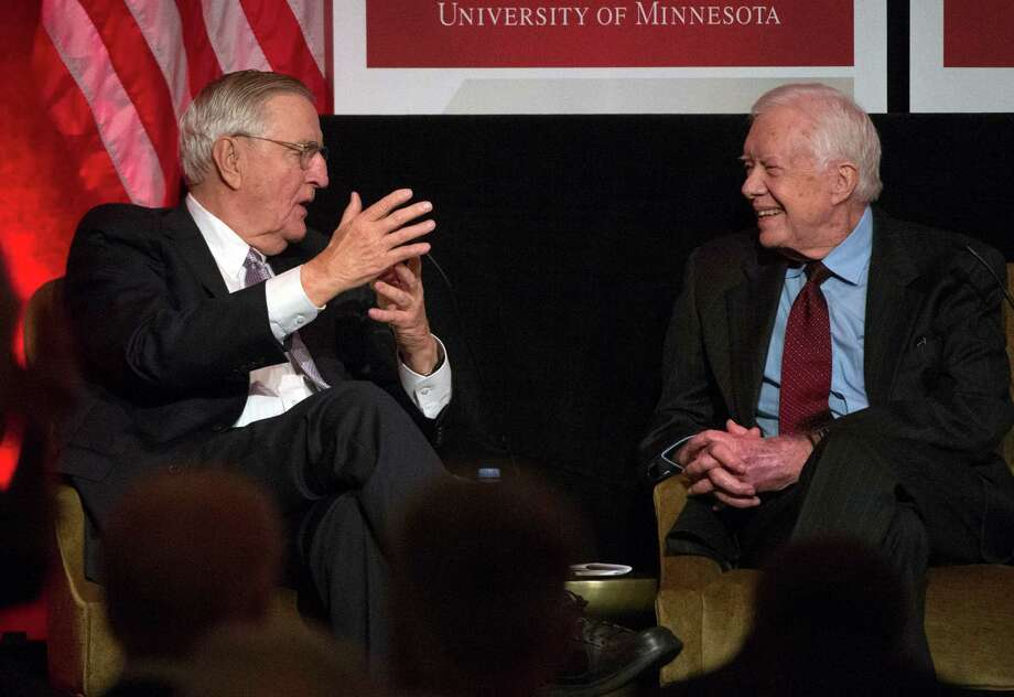 "In his salute to Walter Mondale, his former vice president, former President Jimmy Carter said that ""as a Georgia peanut farmer, I needed a lot of help."" Photo: Molly Riley, FRE / FR170882 AP"