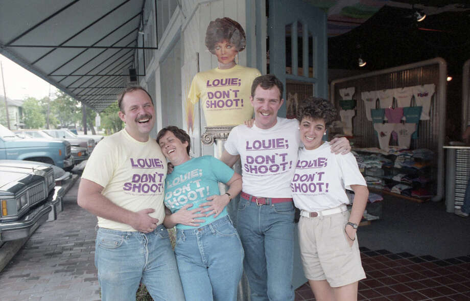 """October 1985: After Houston mayor Louie Welch made a """"shoot the queers"""" joke during a microphone check, """"Louie Don't Shoot"""" shirts were sold in Montrose, the center of Houston's gay and lesbian life. Photo: Ben DeSoto, Houston Chronicle / Houston Chronicle"""