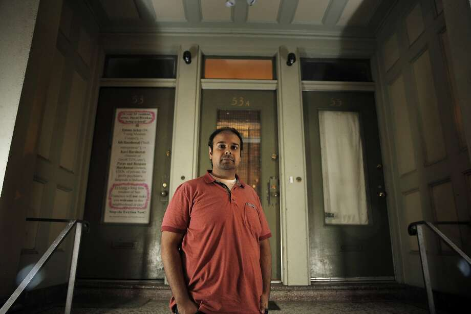 Ish Harshawat stands outside his San Francisco home on Oct. 20. Harshawat and his wife, Emma Acker, are mired in a housing battle with a tenant who refuses to leave despite the couple's family hoping to move into the unit. The tenant has refused an $80,000 offer and has turned the campaign to stay into a personal attack on Acker, who works at the de Young Museum, saying she is trying to evict a San Francisco artist. Photo: Carlos Avila Gonzalez, The Chronicle