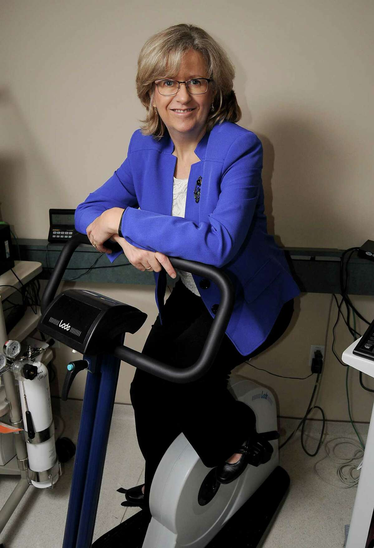 Dr. Karen Basen-Engquist with some exercise equipment at the M.D. Anderson Cancer Prevention Center Tuesday Sept. 8,2015.(Dave Rossman photo)