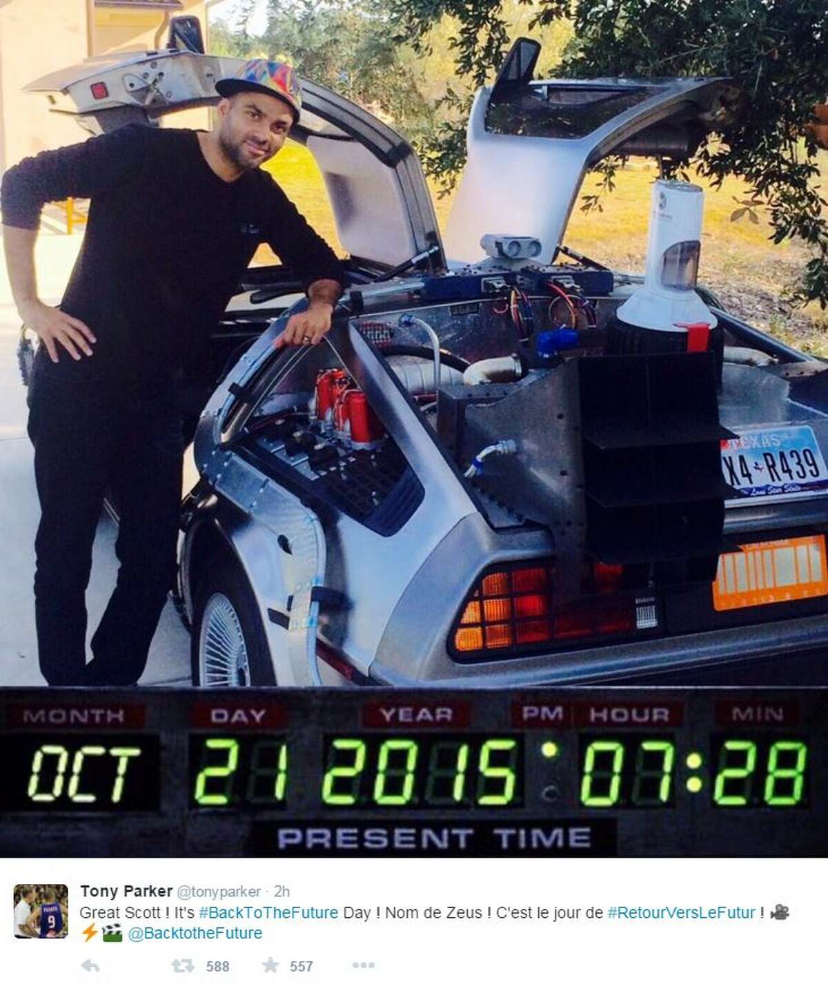 The suave Spur showed off his movie buff side by chiming on the trending social media topic with a twitter photo of himself wearing a Marty McFly cap, standing beside his replica DeLorean, one he told Jimmy Kimmel he actually drives around.