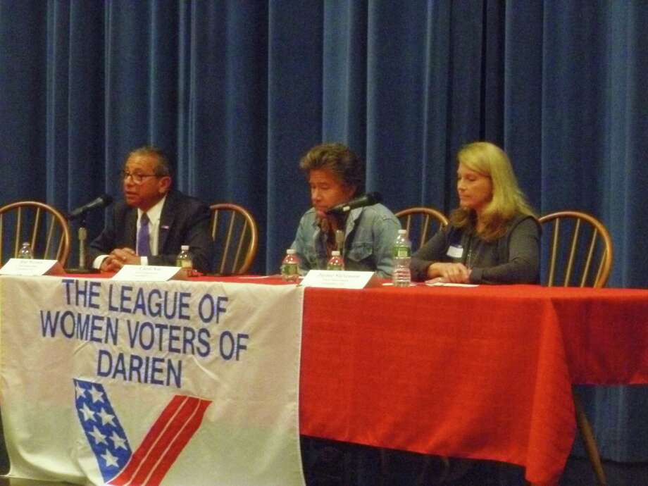 Darien candidates for first selectman at the League of Women Voter's Candidates' Night on Oct. 20, 2015.  From left to right, Rob Werner, unaffiliated, Chris Noe, unaffiliated, and current First Selectman Jayme Stevenson. Photo: Martin Cassidy / Hearst Connecticut Media / Darien News