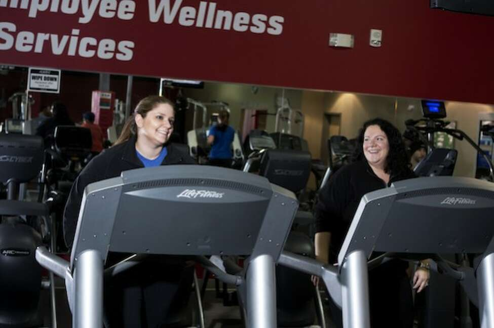 Seen here, employees use ESPN's in-studio gym