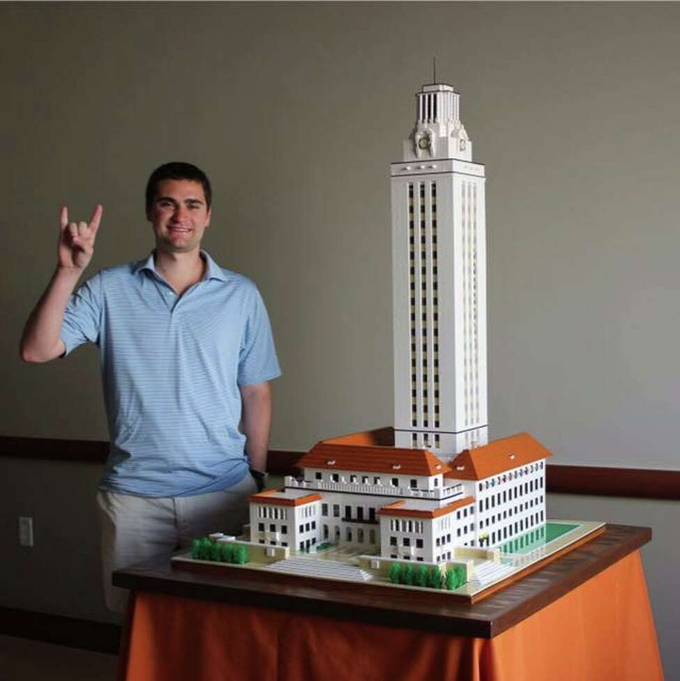 Hamilton Leiser, a University of Texas at Austin student, constructed a four-foot-tall replica of the university's iconic Tower using 15,000 Lego pieces.