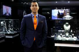Jason Arasheben, jeweler, at the Jason of Beverly Hills store in the Four Season Hotel in Beverly Hills October 20, 2015. Arasheben is the designer of the Warriors championship rings which will be presented to them on October 27th, 2015.