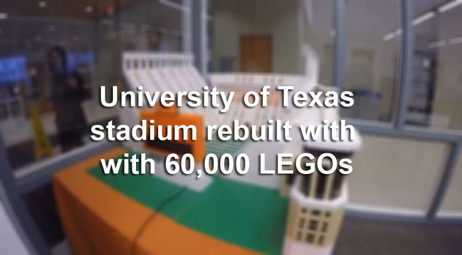 University of Texas alumni Drew Kinkel and Richard Meth rebuilt Darrell K Royal Stadium in five hours with 60,000 LEGOs.Scroll through the slideshow to see how they did it.