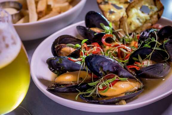 The Mussels with a Firestone Walker Opal Ale at Sessions at the Presidio restaurant in San Francisco, Calif. is seen on Tuesday, October 20th, 2015.