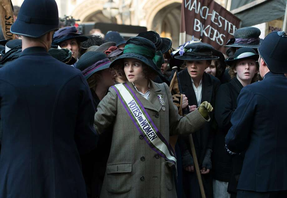 "In this image released by Focus Features, Helena Bonham Carter portrays Edith Ellyn, center, in a scene from ""Suffragette."" (Steffan Hill/Focus Features via AP) Photo: Steffan Hill, Associated Press"