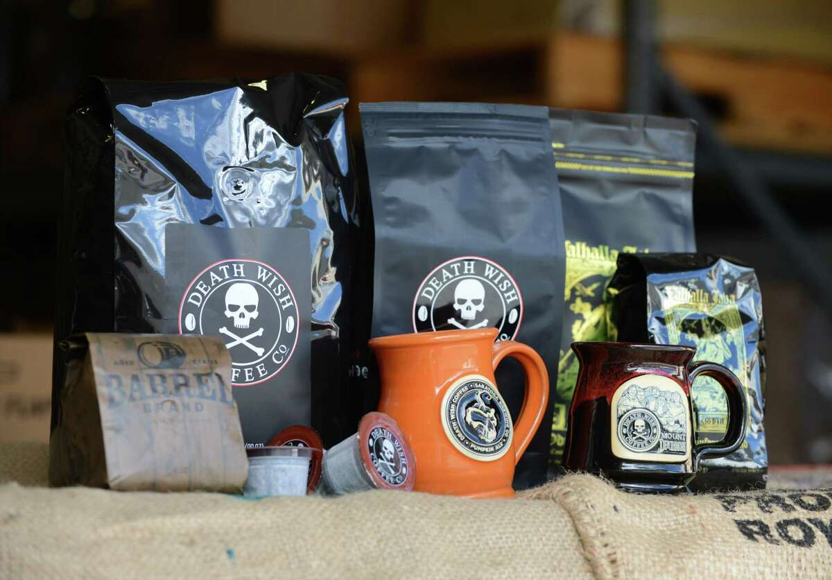 Death Wish Coffee Company products are displayed at their production facility Thursday, Oct. 15, 2015, in Round Lake, N.Y. Death Wish sells a strong coffee that is high in caffeine. (Will Waldron/Times Union)