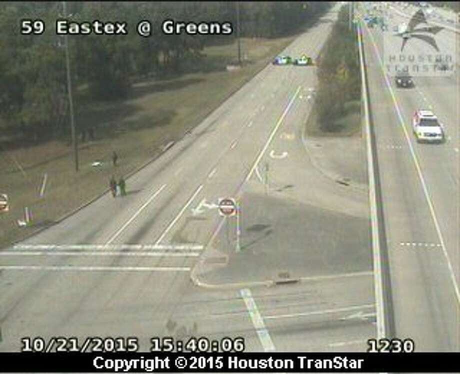 A fatal accident closed all frontage road lanes of the southbound Eastex Freeway at Greens, Oct. 21, 2015. (Houston TranStar)