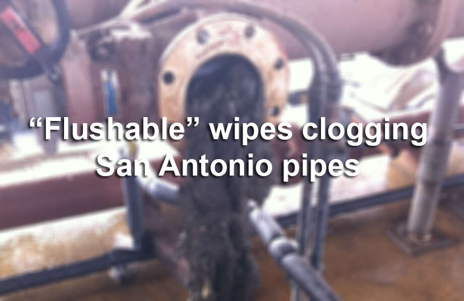 "These wipes are advertised as ""flushable,"" but photos provided by SAWS show that they are a big, nasty problem in San Antonio. Photo: Courtesy SAWS"