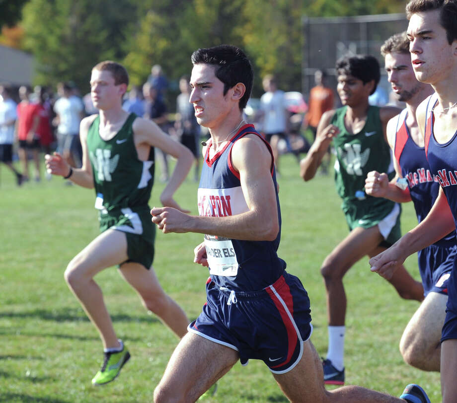 Brien McMahon runner Eric van der Els, center, during the FCIAC Boys Cross Country Championship 5,000 meter run at Waveny Park in New Canaan, Conn., Wednesday, Oct. 21, 2015. van der Els won the race with a time of 15:24. Photo: Bob Luckey Jr. / Hearst Connecticut Media / Greenwich Time