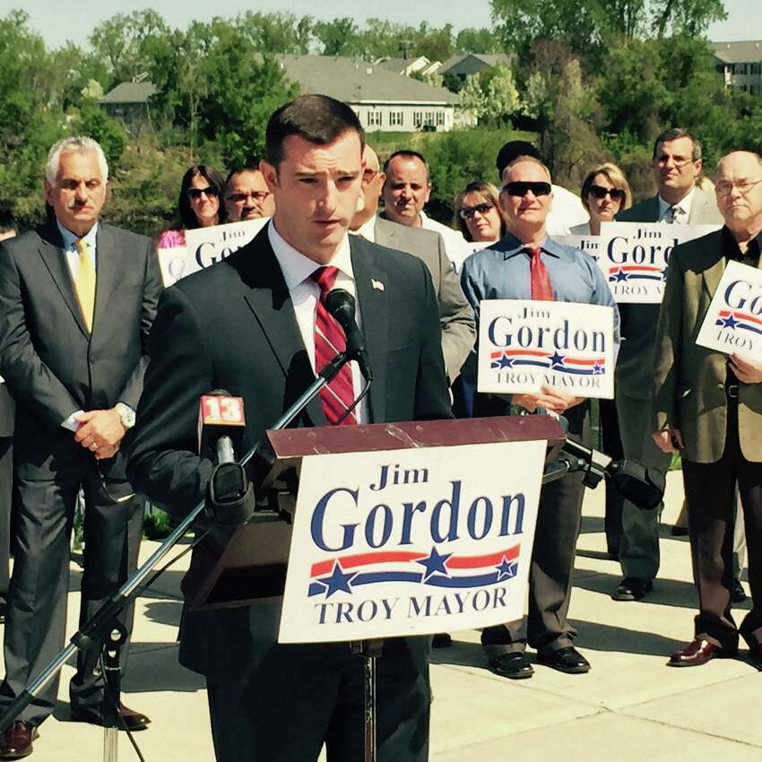 Troy City Councilman Jim Gordon announces on May 7, 2015, that he is a Republican candidate for Troy mayor. (Kenneth C. Crowe II/Times Union)