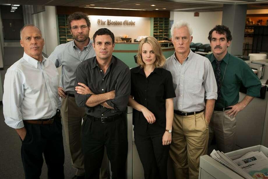 "From left, Michael Keaton, Liev Schreiber, Mark Ruffalo, Rachel McAdams, John Slattery and Brian d'Arcy portray real-life Boston Globe jounralists in ""Spotlight."" Photo: Open Road"
