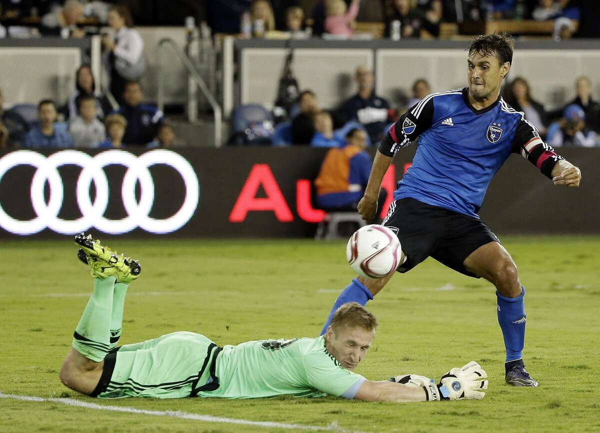 Sporting Kansas City goalkeeper Tim Melia, left, stops a shot attempt from San Jose Earthquakes forward Chris Wondolowski during the second half of an MLS soccer match Friday, Oct. 16, 2015, in San Jose.