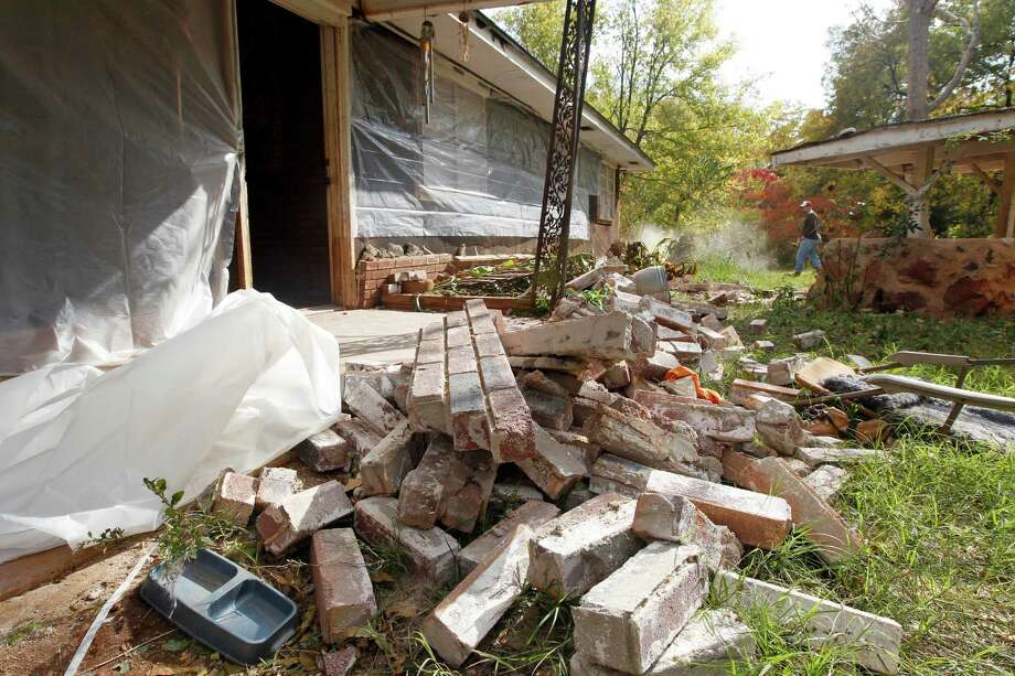 A 2011 earthquake caused damage in Sparks, Okla. A study by the U.S. Geological Survey points to oil field wastewater for many quakes in the state. Photo: Sue Ogrocki, STF / AP