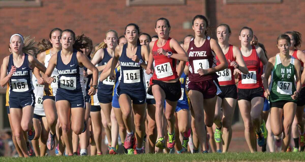 The start of the girls SWC cross country championships, on Wednesday afternoon, October 21, 2015, held at Bethel High School, Bethel, Conn.