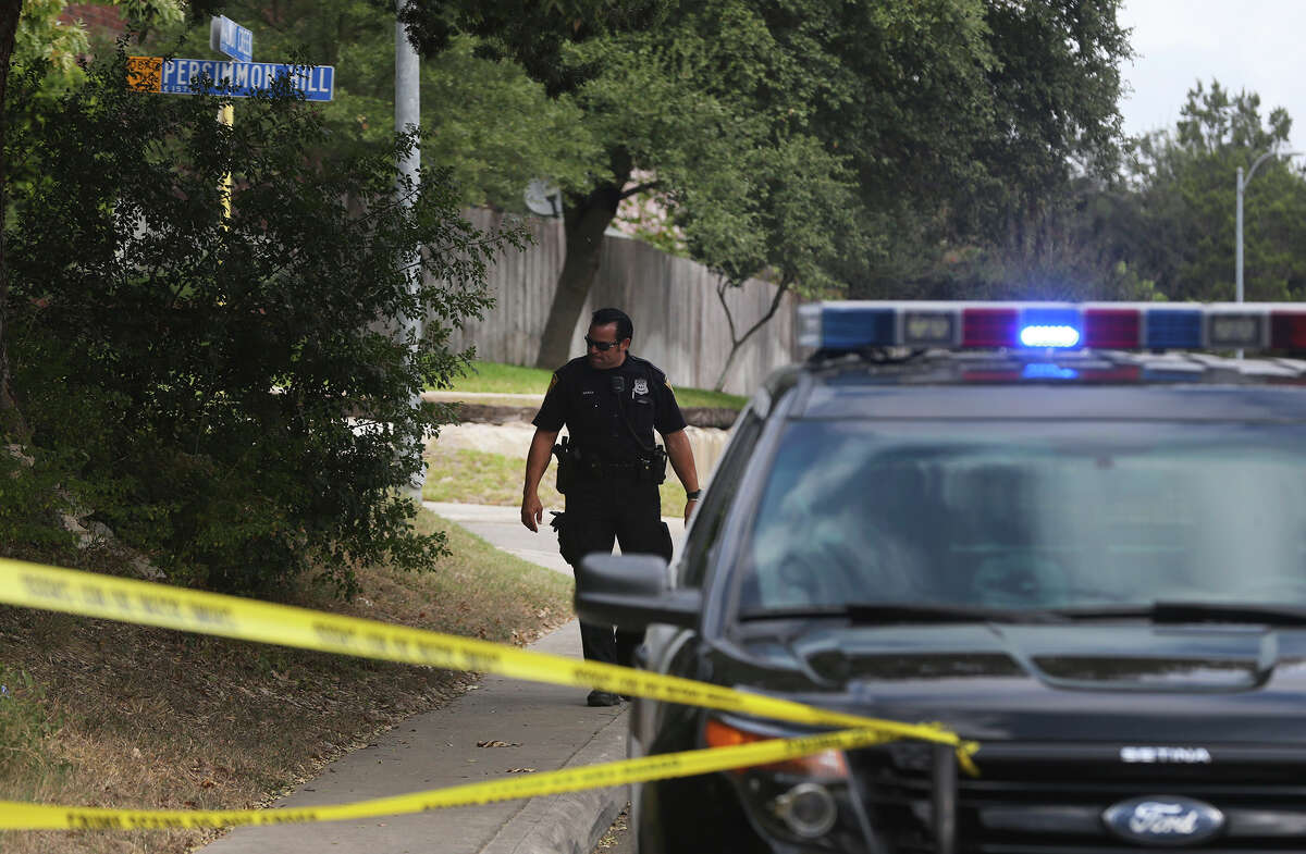 San Antonio police investigate Wednesday October 21, 2015 on the 15,000 block of Walnut Creek on San Antonio's North Side where an alleged stabbing took place. The case is still being investigated.