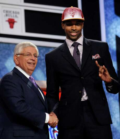 NBA Commissioner David Stern, left, poses with Texas' Tristan Thompson, who was selected by the Cleveland Cavaliers with the No. 4 pick in the NBA basketball draft Thursday, June, 23, 2011, in Newark, N.J. (AP Photo/Bill Kostroun) Photo: Bill Kostroun, FRE / FR51951 AP