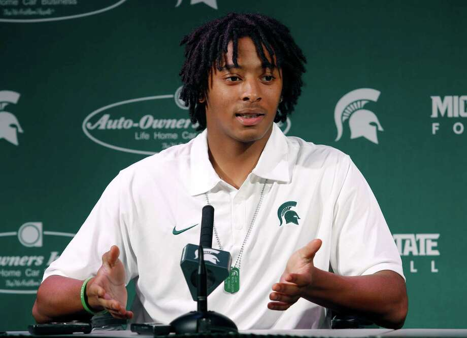 Michigan State redshirt freshman safety Jalen Watts-Jackson talks to the media Wednesday, Oct. 21, 2015, in East Lansing, Mich. Watts-Jackson talked publicly for the first time since his 38-yard fumble return in an NCAA college football game Saturday, Oct. 17 resulted in a touchdown as time expired to beat Michigan 27-23, and sent him to the hospital with a fractured and dislocated hip. (AP Photo/Al Goldis) Photo: Al Goldis, FRE / FR11125 AP