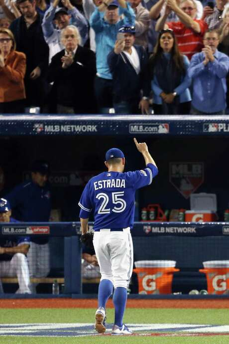 "Blue Jays fans say ""bravo, Marco"" as starter Marco Estrada exits after a 72⁄3-inning stint in which he gave up one run on three hits. Photo: Vaughn Ridley, Stringer / 2015 Getty Images"