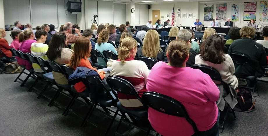 A large contingent of parents turned out Tuesday night to hear about possible elementary school redistricting. Photo: Genevieve Reilly /Fairfield Citizen / Fairfield Citizen