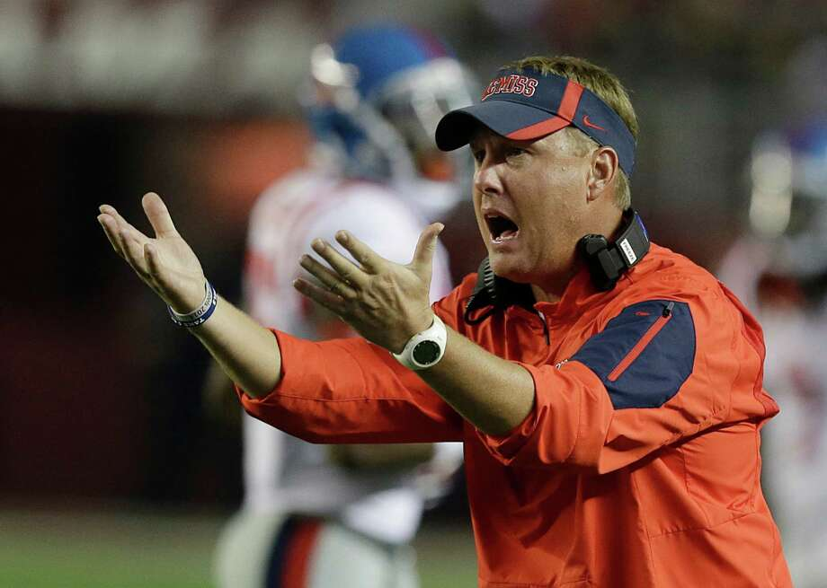 FILE - In this Sept. 19, 2015, file photo, Mississippi coach Hugh Freeze yells to his players during first half of an NCAA football game in Tuscaloosa, Ala. Rejuvenated Florida (4-0, 2-0) slipped back into the rankings this week at No. 25 and welcomes third-ranked Ole Miss (4-0, 2-0) to the Swamp in Gainesville on Saturday. (AP Photo/Butch Dill, File) Photo: Butch Dill, FRE / FR111446 AP