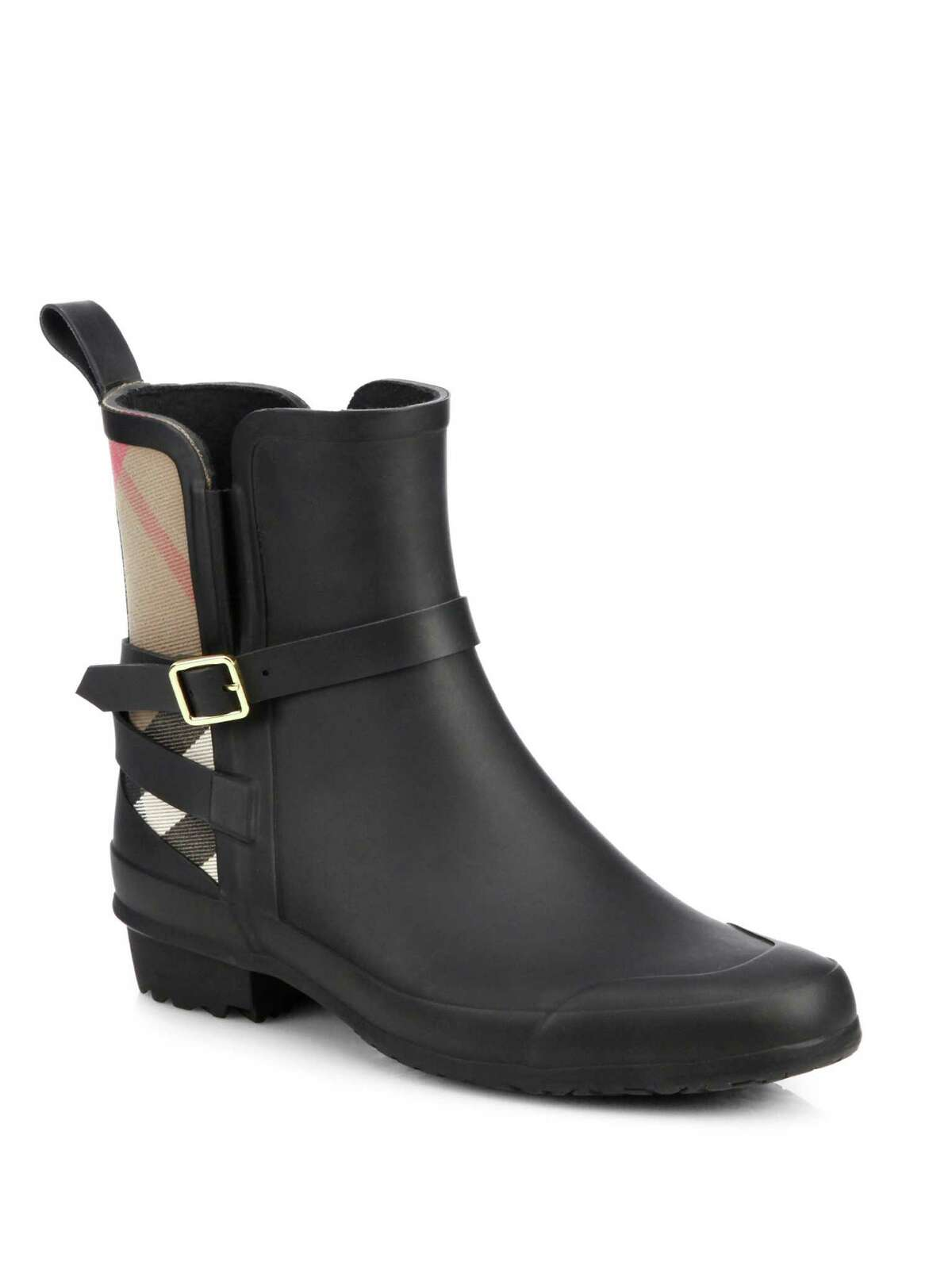 Burberry check rain boot, $325, at saks.com