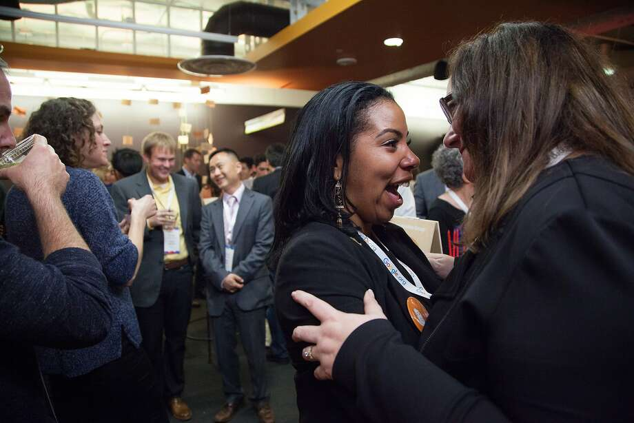 Sakari Lyons of the Essie Justice Group celebrates following the Google Impact Challenge award ceremony, Wednesday, Oct. 21, 2015, in San Francisco, Calif. 25 nonprofits received up to a $250,000 grant for their projects that would help improve the Bay Area. The top projects received a $500,000 grant. Photo: Santiago Mejia, Special To The Chronicle
