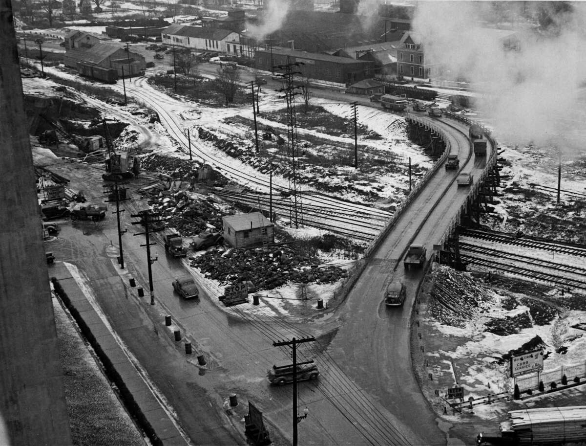 Menands Bridge in Menands, NY. Taken December 18, 1937. (Times Union Archive)