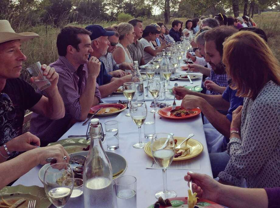 Blue Heron Farm in Waller was the setting for the storied Outstanding in the Field dinner. Monica Pope served as chef. Photo: Melissa Ward Aguilar