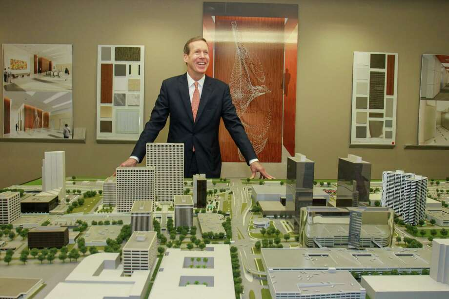 Bob Boykin, senior vice president at Cousins Properties Inc., with a model of Greenway Plaza. (For the Chronicle/Gary Fountain, October 20, 2015) Photo: Gary Fountain, For The Chronicle / Copyright 2015 Gary Fountain