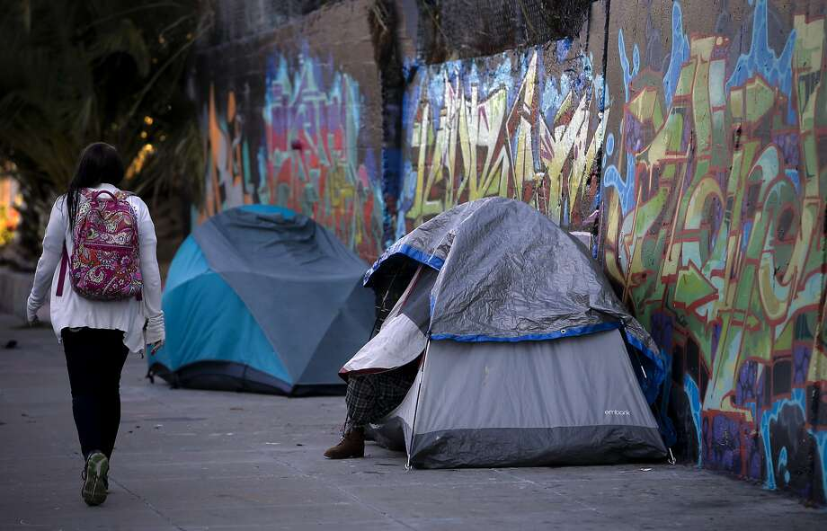 A couple of tents have been set up on the 400 block of Florida Street  in the Mission Creek neighborhood of San Francisco, Calif. on Wed. October 21, 2015. Photo: Michael Macor, The Chronicle