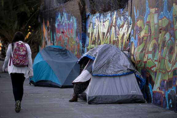 A couple of tents have been set up on the 400 block of Florida Street  in the Mission Creek neighborhood of San Francisco, Calif. on Wed. October 21, 2015.