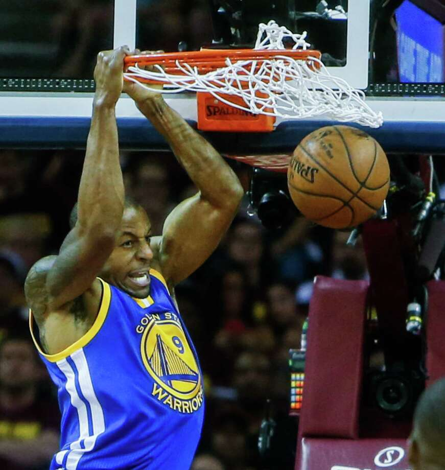 Andre Iguodala dunks during Game 6 of the NBA Finals against the Cavaliers at the Quicken Loans Arena on June 16 in Cleveland. Photo: Scott Strazzante / Scott Strazzante / The Chronicle / ONLINE_YES