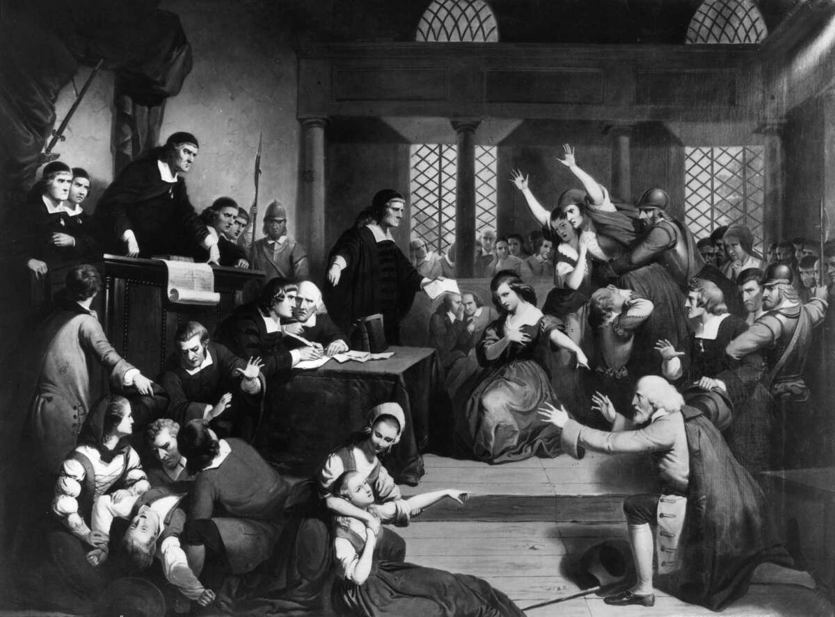 """""""The Trial of George Jacobs for Witchcraft"""" at the Essex Institute in Salem, Mass."""